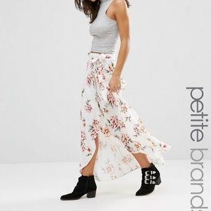 HP ASOS New Look Petite Wrap Floral Midi Skirt NWT